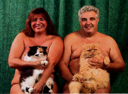 family portrait with fat cats