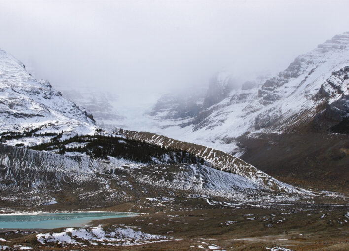 a simple rain picture of Athabasca Glacier