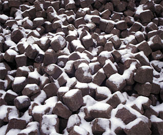 stockpiled cobbles
