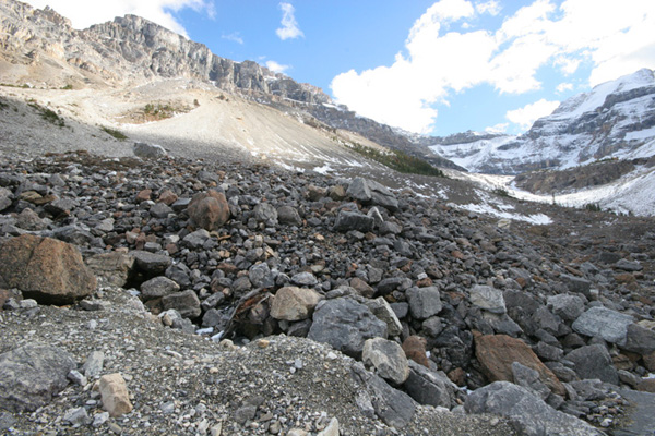 Stanley Glacier scree slopes